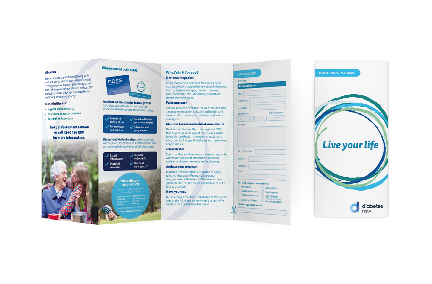 Image of DL brochure style Diabetes NSW membership form.