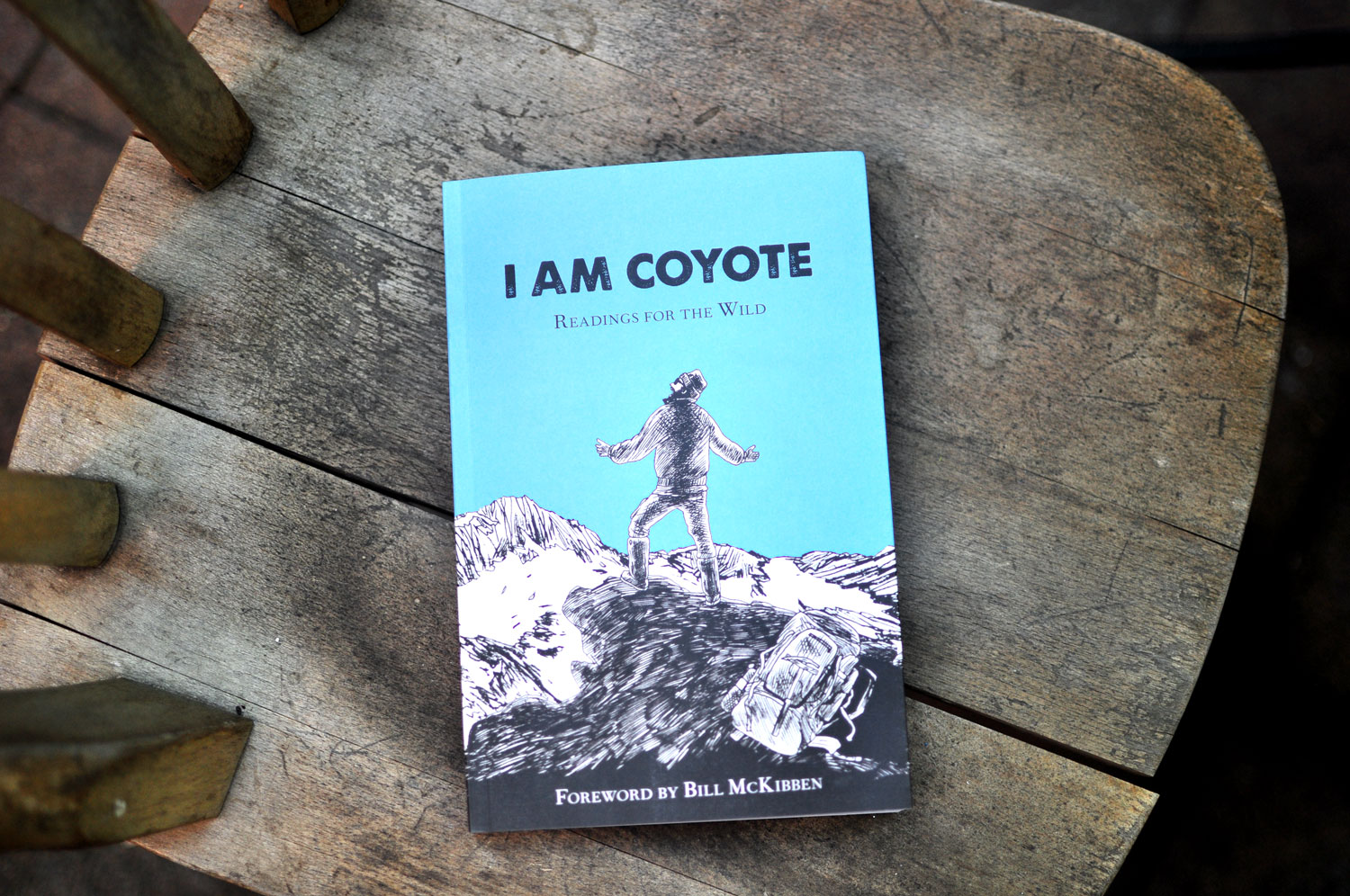 Cover of the I AM COYOTE: Readings for the Wild book with an illustration of a man on top of a mountain yelling out.