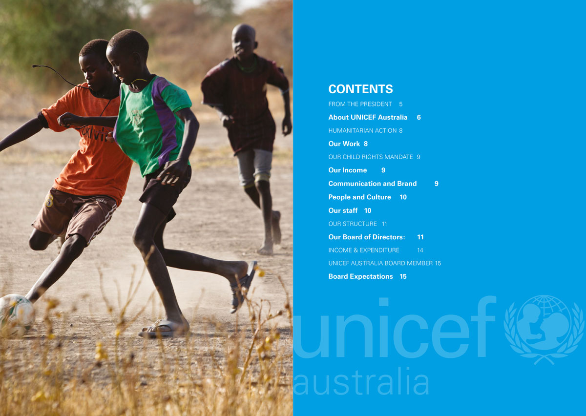 Image of the table of contents for the UNICEF Australia annual report.