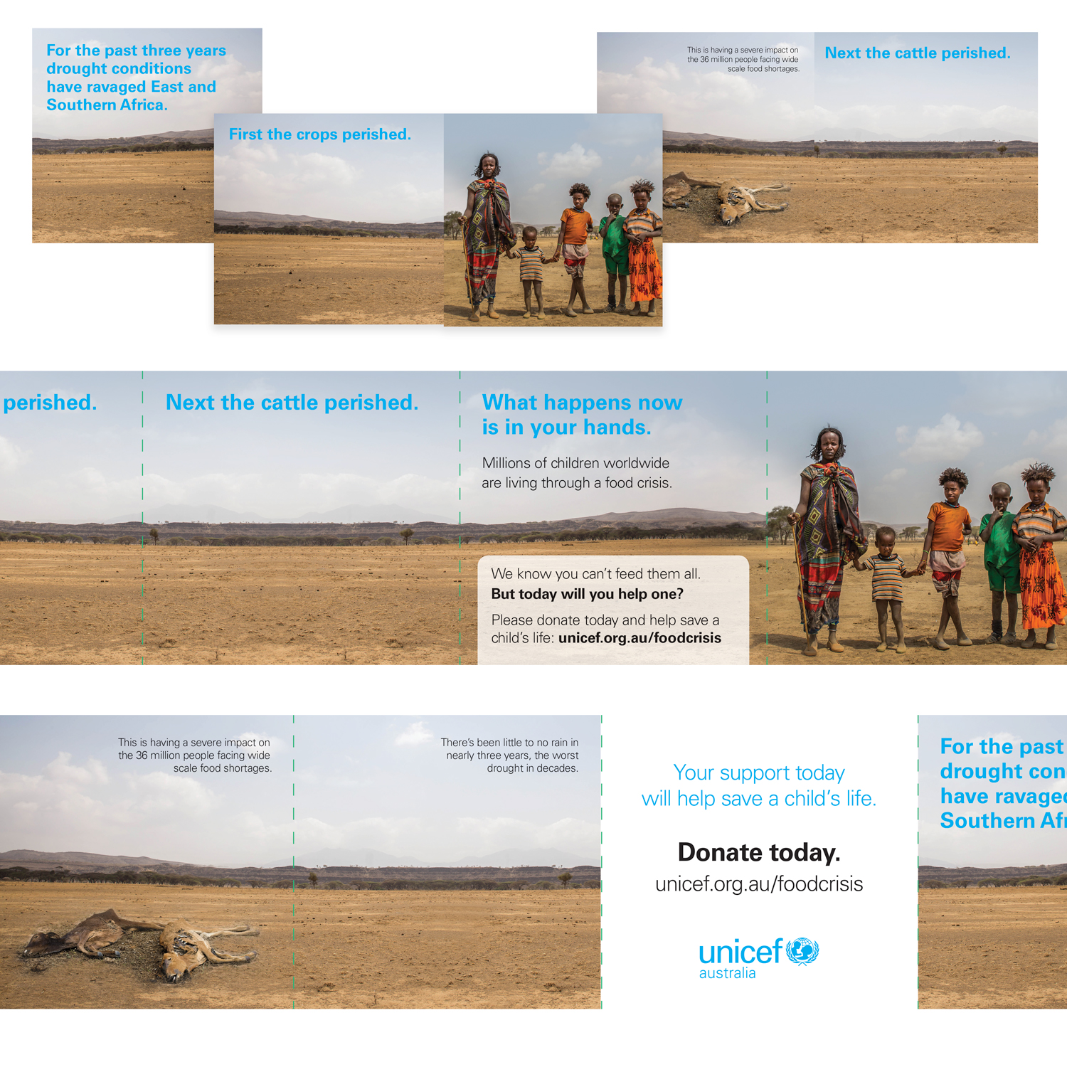Image of a square roll fold brochure for UNICEF Australia. This was to raise donations for issues stemming from a large drought in Eastern and Southern Africa in 2017.