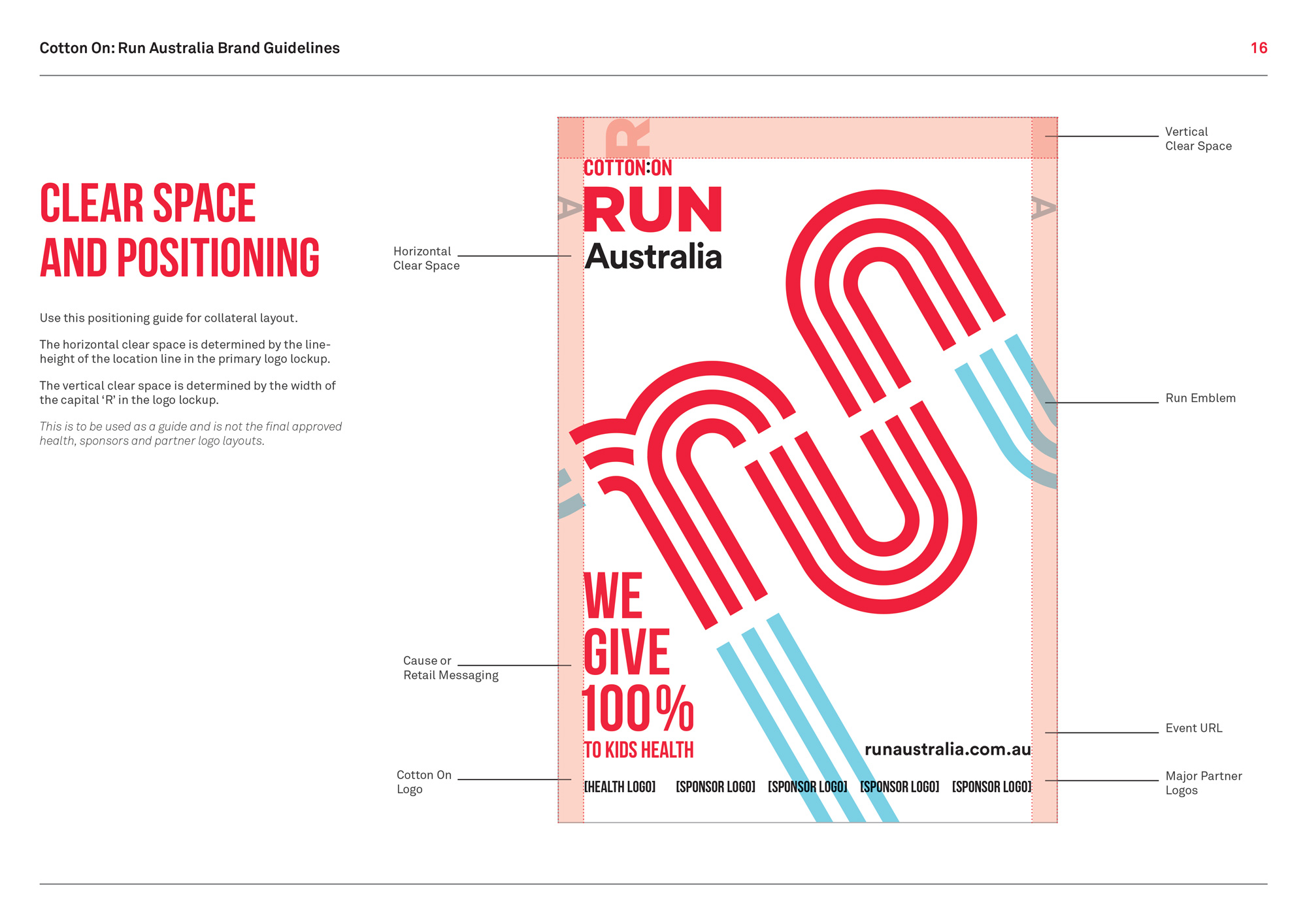 Poster layout brand guidelines for Cotton On's Run Australia.